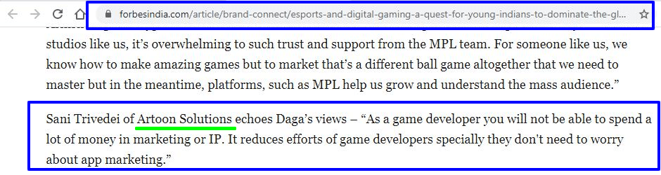 Our client MPL (Mobile Premier League) mentioned us in Forbesindia