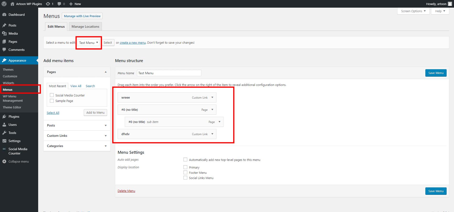 WP menu Management plugin